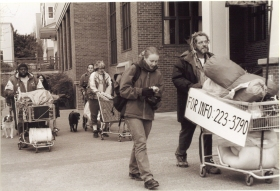 Shopping cart parades from the early movements of Camp Dignity