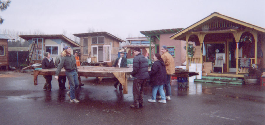 Villagers siting the deck for a house