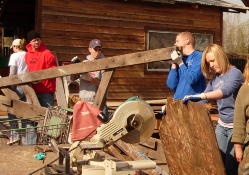 Students help recycle wood